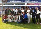 Newham CC Under 18s celebrate winning the 2014 Essex Cup Final at the Essex County Ground