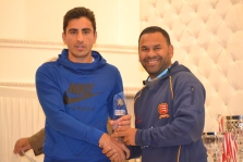 Adnan receives his award for Best Young Player 2018